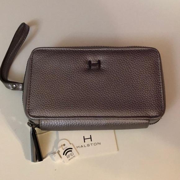 Halston Hillary double zip wallet silver pebbled 19046efea8304